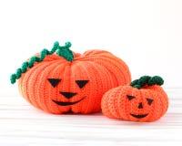Two funny Halloween orange pumpkin Stock Photos