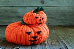 Two funny Halloween orange pumpkin Stock Photo