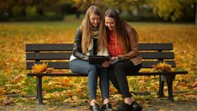 Two Funny Happy Young Girls Friends Sitting on the Bench and Using Tablet. Women Laughing and Playing on Pad Computer in. The Autumn Park on Sunny Day, Outdoor stock video
