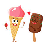 Two funny ice cream characters - strawberry cone and chocolate popsicle Stock Images