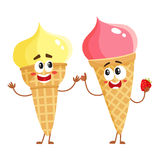 Two funny ice cream cone characters - strawberry and vanilla Stock Images