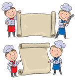 Two funny kids cook with banner scroll Stock Photos