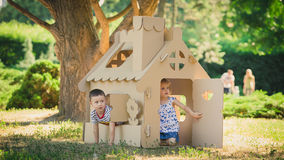 Two funny kids are playing Stock Images