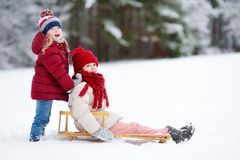 Two funny little girls having fun with a sleight in beautiful winter park. Cute children playing in a snow. Stock Image