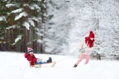 Two funny little girls having fun with a sleight in beautiful winter park. Cute children playing in a snow. Royalty Free Stock Photo