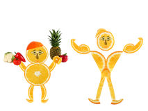 Two funny little oranges  made of the orange slic Royalty Free Stock Photos