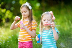 Two funny little sisters blowing soap bubbles outdoors royalty free stock image