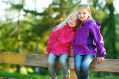 Two funny little sisters having fun during forest hike on beautiful autumn day in Italian Alps. Active leisure with small kids. Family hiking Stock Photo