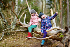 Two funny little sisters sitting on a log during forest hike Stock Image