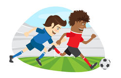 Two funny men soccer player playing football competition fightin. Vector illustration Two funny men soccer player playing football competition fighting for a Stock Images