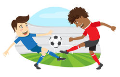 Two funny men soccer player playing football competition fightin. Vector illustration Two funny men soccer player playing football competition fighting for a Royalty Free Stock Image
