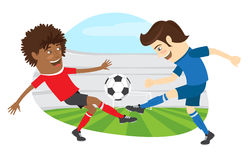Two funny men soccer player playing football competition fightin. Vector illustration Two funny men soccer player playing football competition fighting for a Stock Photos