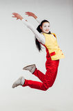 Two funny mimes jumping on white background Stock Photos