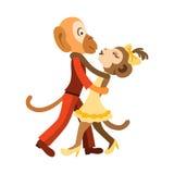 Two funny monkeys dancing salsa Stock Photos