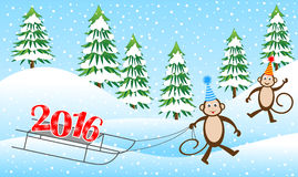 Two funny monkeys on a sled driven by numbers 2016. Vector illustration Royalty Free Stock Images