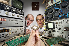 Two funny nerd scientists royalty free stock photography