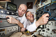 Two funny nerd scientists Stock Photos