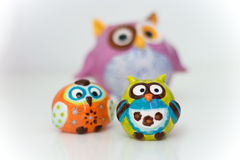 Three Funny Owl Figures. Stock Photos