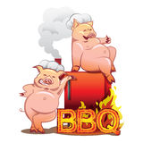 Two funny pigs near the red smoker. Two smiling pigs in chefs hats standing near the red smoker with burning letters BBQ Stock Photo
