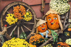 Two funny pumpkin Stock Images