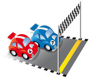 Two funny race cars on race track. With finish line and checkered flag royalty free illustration