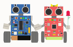Two funny robots Royalty Free Stock Images