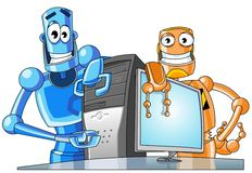 Two funny robots with a computer. Royalty Free Stock Image