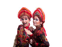 Two funny russian go-go girls Stock Photography