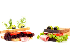 Two funny sandwich for child. Royalty Free Stock Images