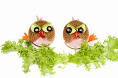 Two funny  sandwich for child. Royalty Free Stock Photos
