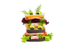 Two funny sandwich for child. Stock Photo
