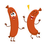 Two funny sausage character with human face running, jumping excitedly Royalty Free Stock Photos