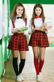 Two funny schoolgirls in school uniforms are standing in the hallway with books