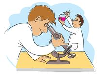 Two funny scientists at research work. Vector illustration Royalty Free Stock Photo
