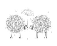 Two funny sheeps, sketch for your design Royalty Free Stock Image