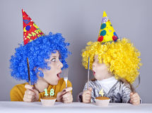 Two funny sisters four and eighteen years old Stock Photos