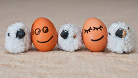 Two funny smiling eggs near a small sheeps royalty free stock images