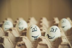 Two funny smiling eggs in a packet. Royalty Free Stock Photography