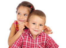 Two funny smiling little children Royalty Free Stock Photo