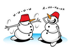 Two funny snowman. In action Royalty Free Stock Photos
