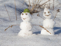 Two funny snowman Royalty Free Stock Photo