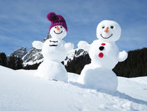 Two funny snowmen Royalty Free Stock Photos