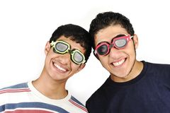Two funny teenagers stock image