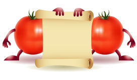 Two Funny Tomato with papirys Royalty Free Stock Photos