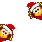 Two funny turkeys in Santa hat on white background Stock Images
