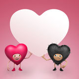 Two Funny Valentine heart cartoons holding banner Stock Image