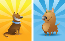 Two funny vector dogs royalty free stock photo