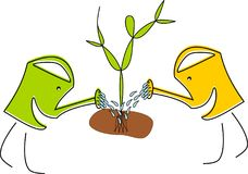 Two watering cans are planting a tree. Two funny watering cans are planting a tree Royalty Free Illustration