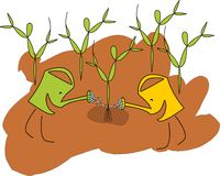 Two watering cans are planting a tree. Two funny watering cans are planting a tree Stock Illustration