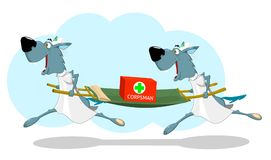 Two funny wolf nurses running with a stretcher Stock Images
